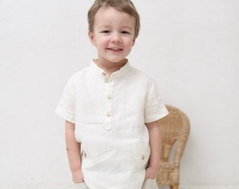 57ccb2929e Boys natural linen shirt Toddler boy short sleeve shirt Mandarin collar  shirt Wedding party Baptism shirt Boys clothes Off white shirt