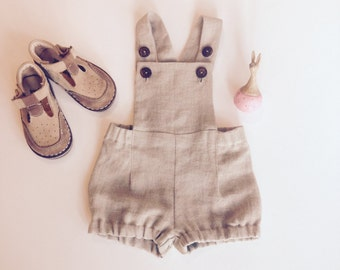 0ff9d5453017 Baby boy romper Linen romper Baby boy overalls Linen dungarees Baby boy  linen shorts Diaper cover Cake smash outfit Natural linen shorts