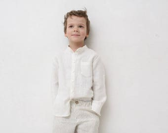 142b5961e0 Boys linen shirt Mandarin collar shirt Toddler boy long sleeve ivory shirt  Wedding party shirt Baptism shirt Boys clothes Summer clothes