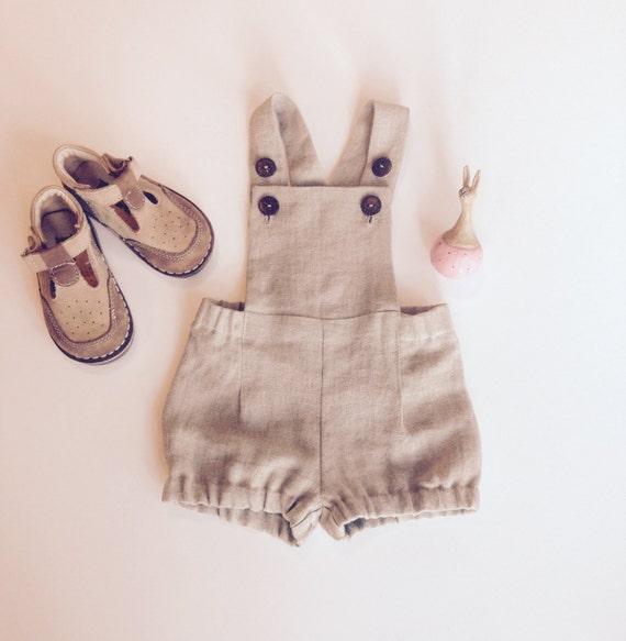 Baby boy overalls Linen dungarees Baby boy linen shorts