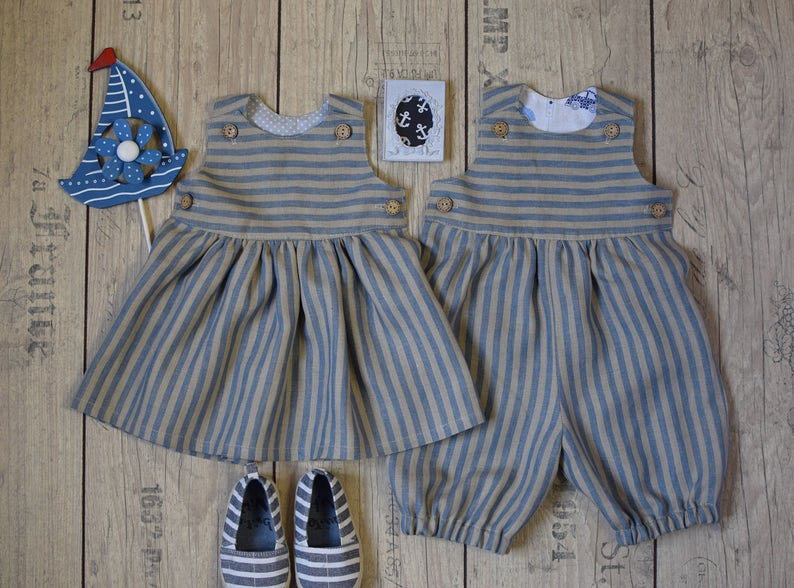 49868e7a0f4d Baby twin linen outfit Twin boy and girl set Baby girl dress
