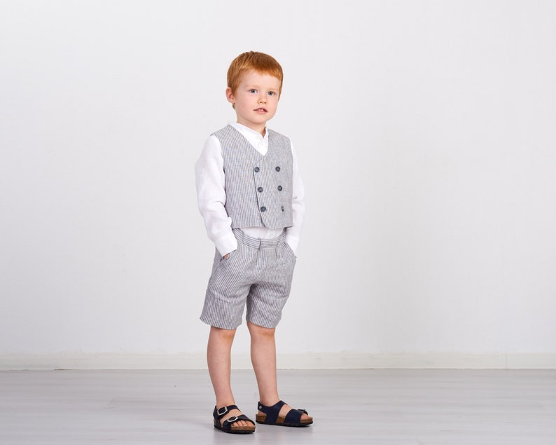 a2ee8806561430 Ring bearer suit Boys linen outfit Vest and shorts set Ring