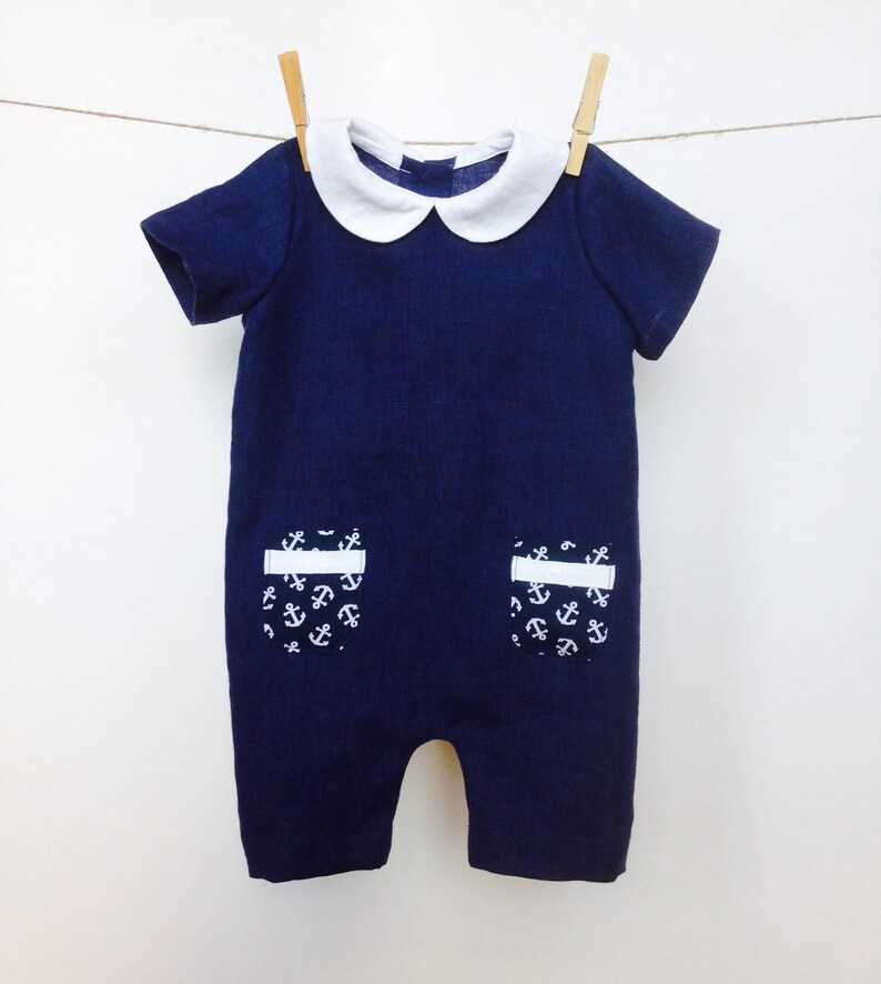 5d1a2e1470ec Baby boy linen romper Nautical Linen romper Peter Pan collar
