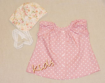 Baby Girls peasant dress Baby girl tunic dress Dusty pink white dot tunic dress Baby girl clothes 1st birthday outfit