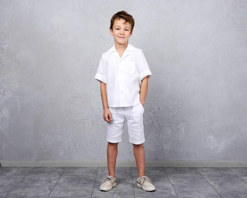 c98839ec5c Ring bearer white suite Boys linen outfit Hawaiian shirt Beach | Etsy