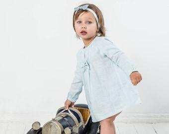 Baby girl peasant tunic top Baby girl tunic dress Linen tunic dress Baby blue linen tunic Reglan sleeve top Long sleev linen top