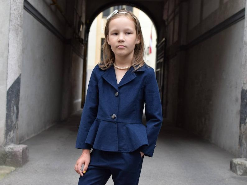 147fa2fd7b4 Girls blazer Toddler girls jacket Navy blazer Velvet jacket | Etsy