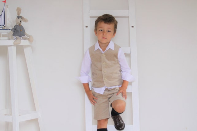 ae92a6eb7b Boys suit Boys clothes Ring bearer outfit Boys vest and shorts Boys velvet  suit Family Photo