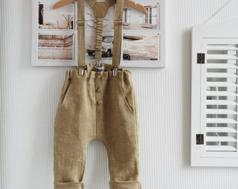 Baby boy pants Baby suspenders Baby boy outfit Baby linen harem pants Baby linen clothes Family photo 1st Birthday outfit