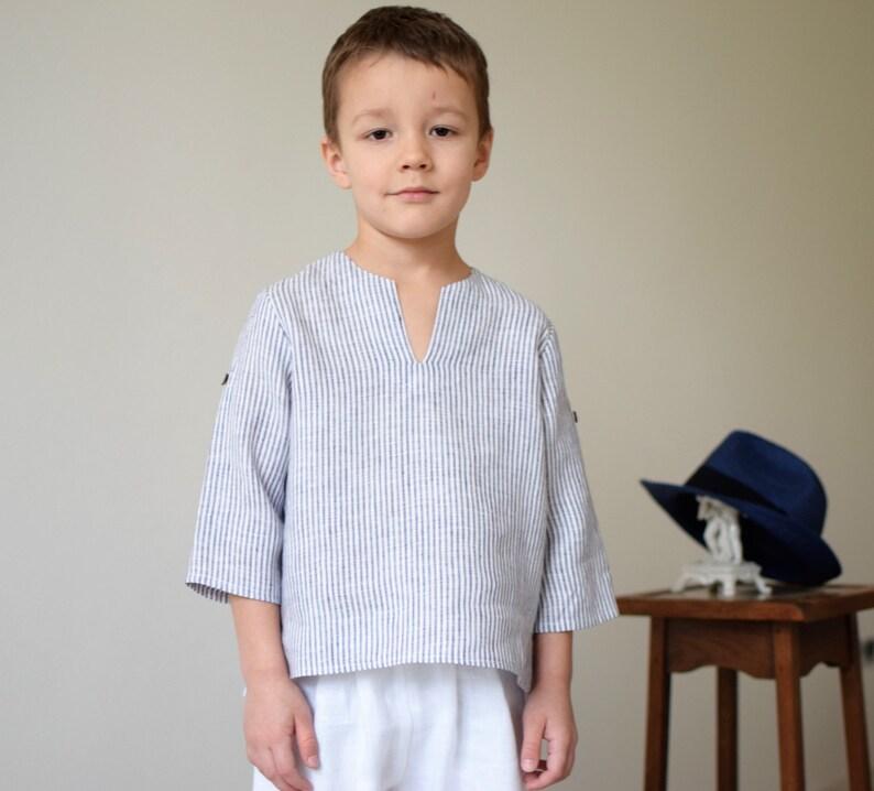 white linen shirt toddler boy