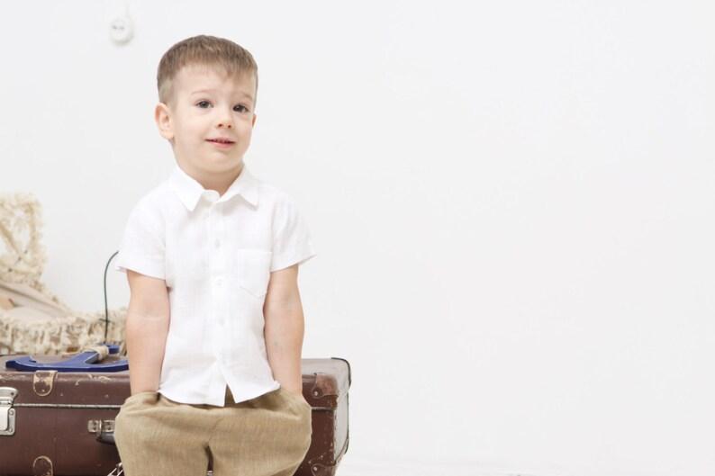 9c9acc93 Baby Boy christening shirt Baby boy white Linen shirt Baptism | Etsy