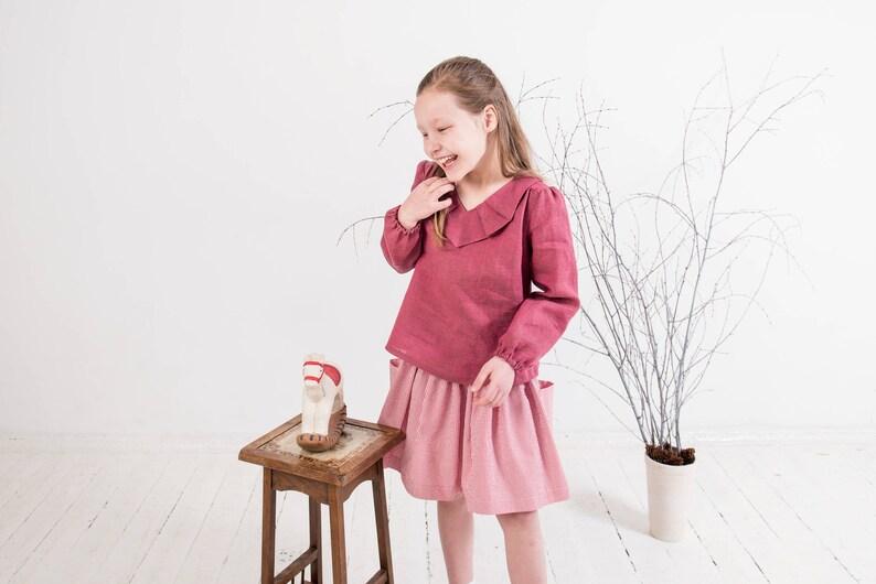d19078f149345 Girls linen top Ruffle collar blouse Toddler girls long sleeve