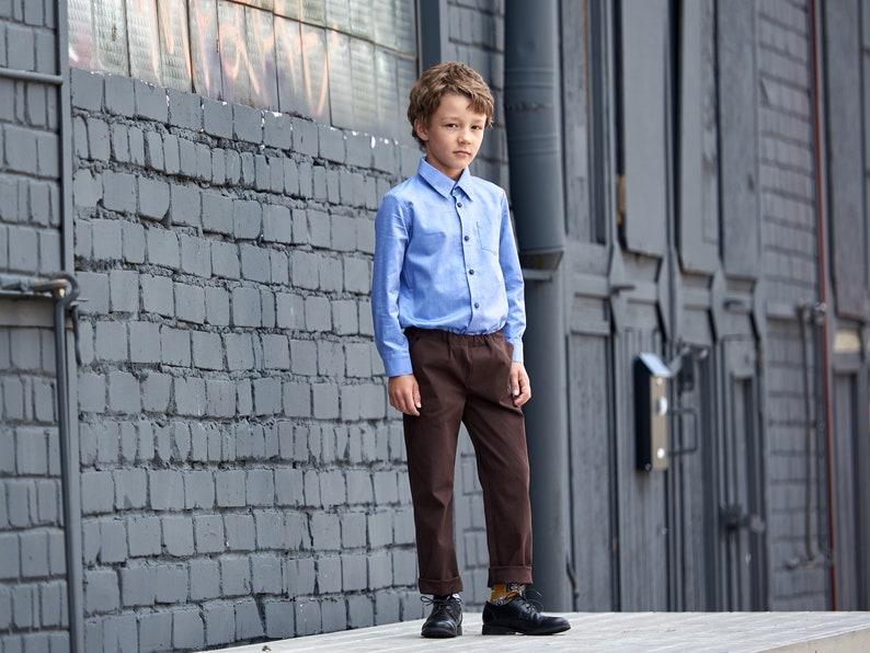 Boys dress shirt Toddler boy long sleeve white shirt Button down shirt Blue shirt Toddler classy shirt Ring bearer shirt Wedding party