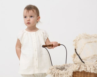 Girls peasant dress Baptism dress Christening dress Baby girl peasant dress Natural linen tunic dress White peasant dress