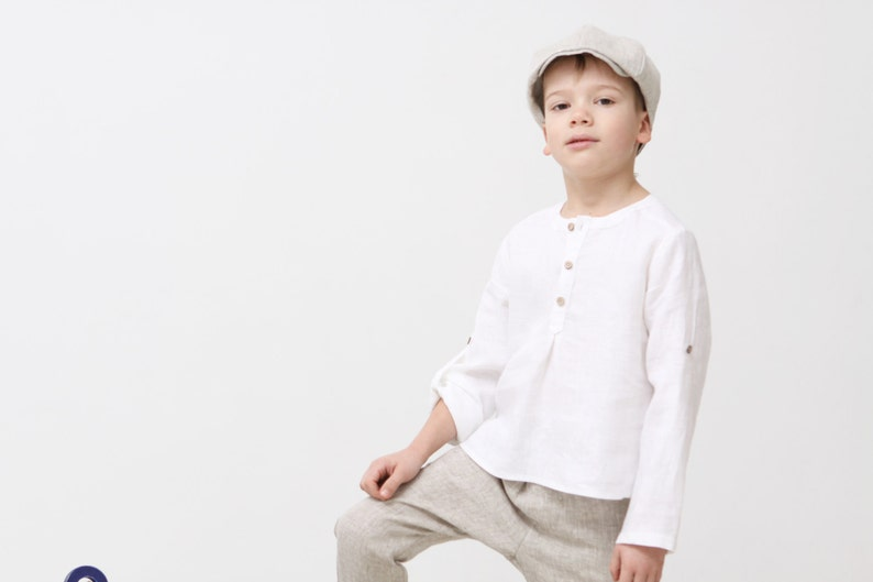 3d2f3c96c Boys natural linen shirt Toddler boy white shirt Wedding shirt