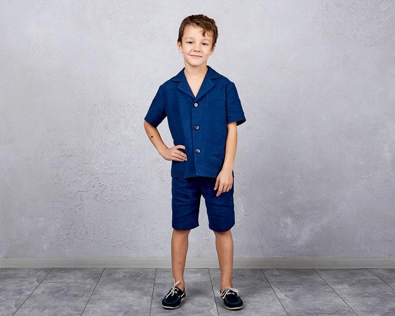 Ring bearer suite Black White linen suit Boys linen outfit Baptism outfit Boys summer outfit Short sleeve jacket and shorts set