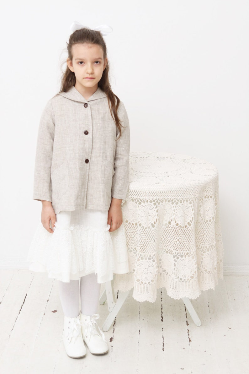 e159baa8c2e Girls coat Girls linen blazer Girls linen jacket Girls dress | Etsy