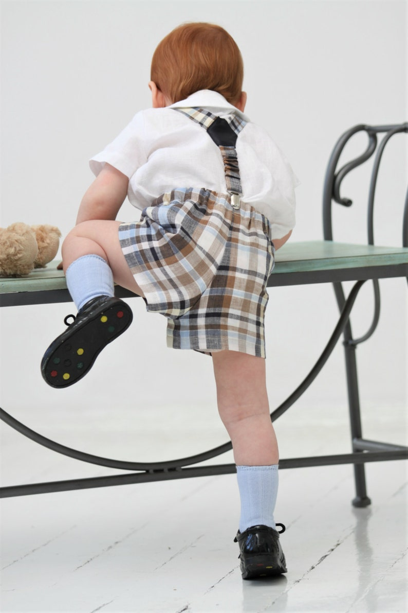 Baby boy outfit Baby boy shorts and suspender set Baby boy baptism outfit Baby boy 1st birthday outfit Baby shorts Blue and brown checkered