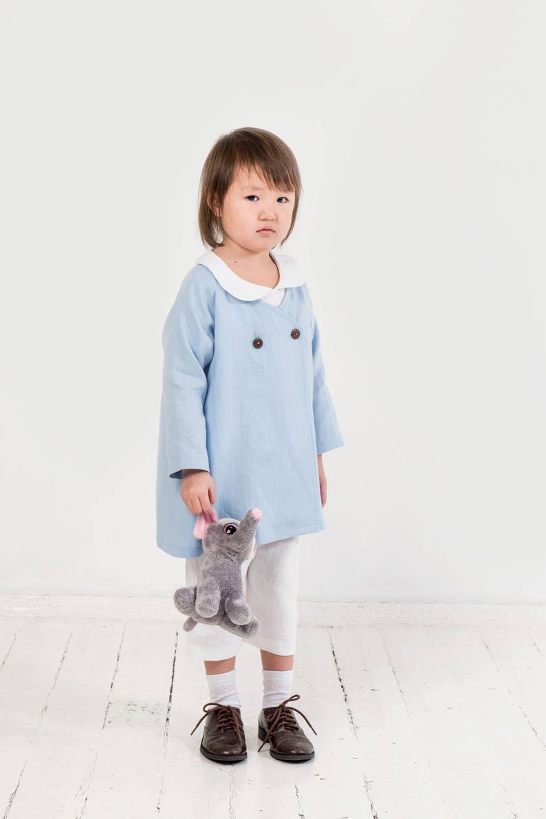 4a2358333 Girls linen coat Linen jacket Light blue linen cardigan Girls