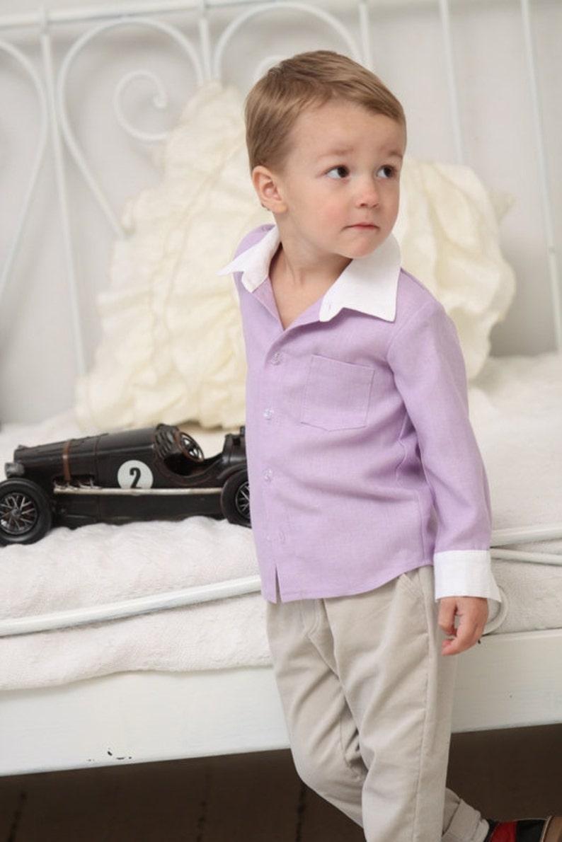 21f67a3a61d3a Boys dress shirt Toddler boy long sleeve light lilac linen