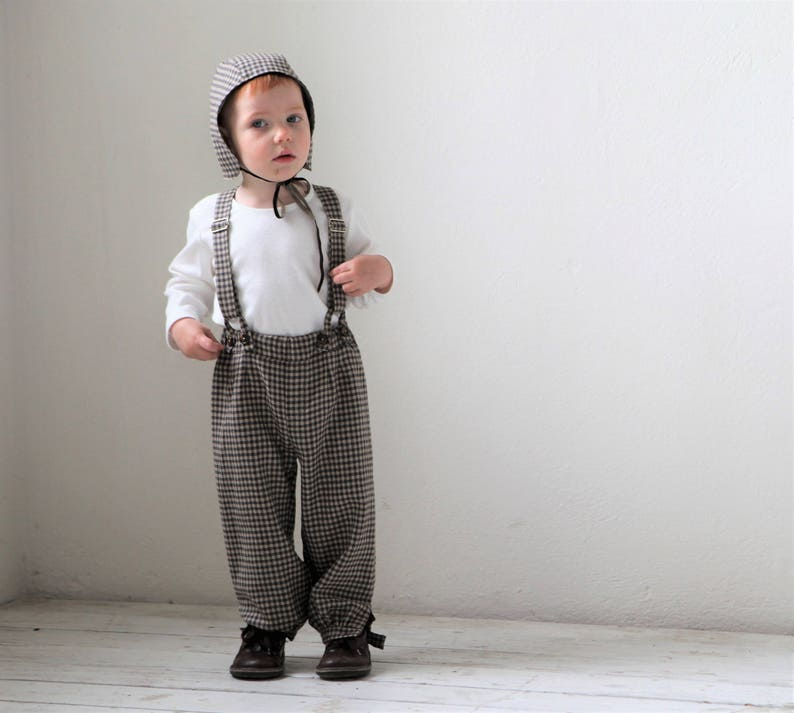 19259a881 Baby boy pants Baby suspender pants Baby boy wool outfit Baby   Etsy