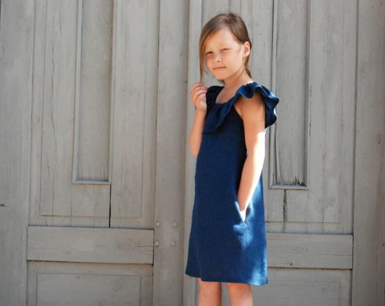 61e8d7861b33 Girls dress Off shoulder Ruffle dress Navy blue dress Toddler
