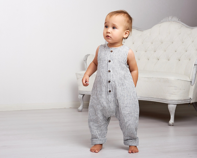 Baby Romper Boy Linen Unisex Overall