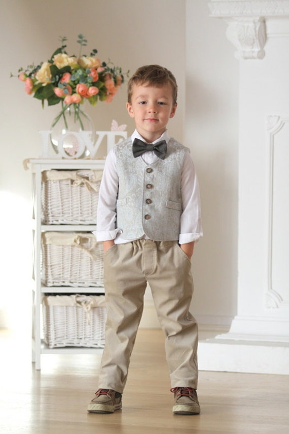 Ring Bearer Vest And Pants Boys Outfit Autumn Winter Wedding Etsy