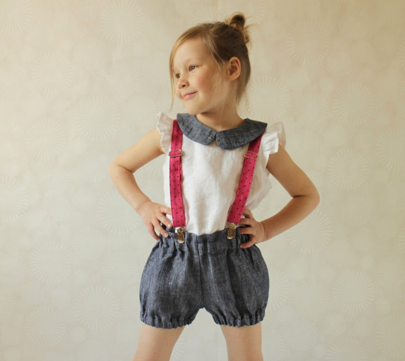 347a612dc Girls pink linen suspenders Toddler girl suspenders Kids | Etsy