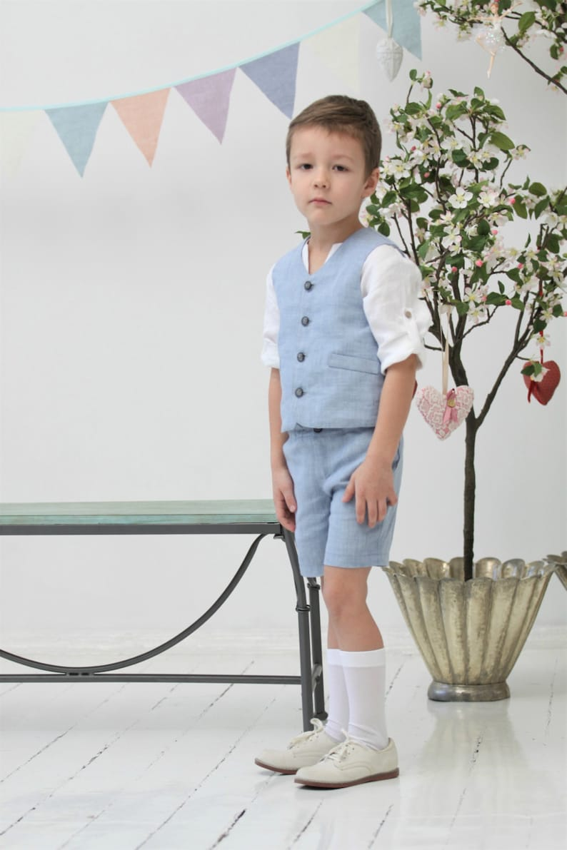 313d81ffb3e Boys linen suit Ring bearer suit Toddler boy vest and shorts