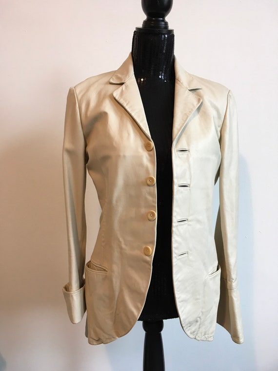 Retro Henry Duarte cream leather jacket
