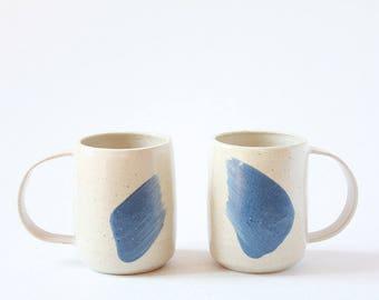 Set of 2 Mugs Handmade Stoneware Slip decorated