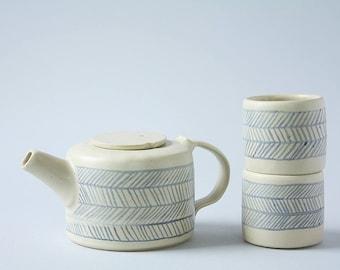 Ceramic Tea set for 2 handmade pottery