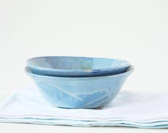 Set of 2 Ceramic Stoneware Bowls Light Blue