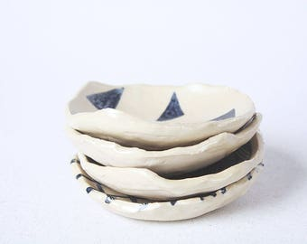 Ceramic mini plates hand painted set of 4