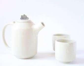 Tea Set for 2 Ceramic Stoneware - Tea pot and 2 tea cups.