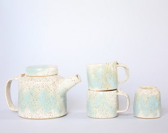 Ceramic Tea Set for two Speckled Handpainted blue includes 2 tea cups and creamer