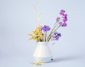 White Bud Vase Ceramic Geometric