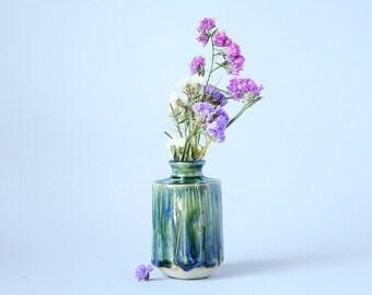 Bud Vase Ceramic Stoneware Faceted
