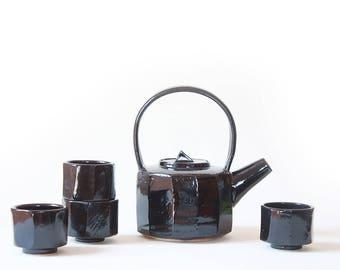 Ceramic Tea Set faceted - 4 Tea cups