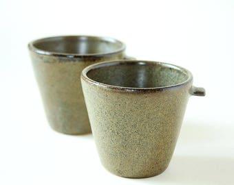 Coffee Tea Cups Stoneware Set of 2