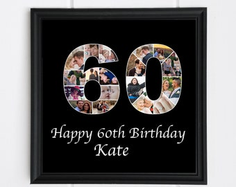 60th Birthday Gift For Dad Photo Collage Custom Number 60 Anniversary Decor