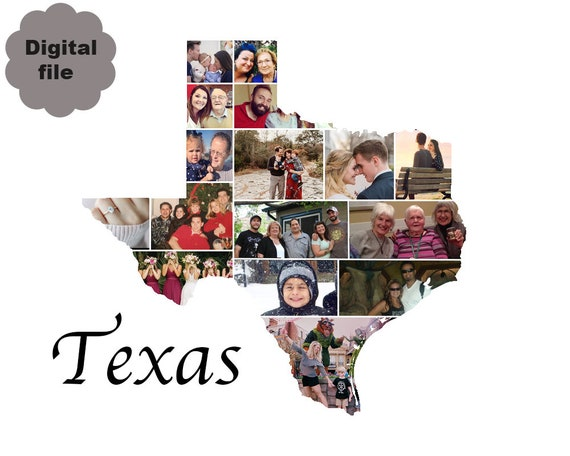 Texas State Photo Collage Texas Map Collage Texas State Shape Etsy