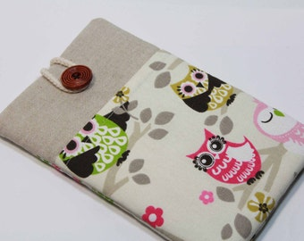 Owl iPad Mini 4 Case iPad Mini 3 Cover iPad Mini Sleeve iPad mini 2 Case Foam Padded Handmade Ipad mini Cover with pocket- Pink Green Owl