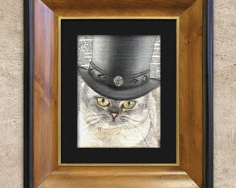 Dictionary Print Allegiant Steampunk British Shorthair Cat In Top Hat Art