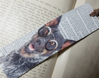 Book mark: Vivacious Australian Cattle Dog in Glasses, Handmade Bookmarks, Unique Bookmarks