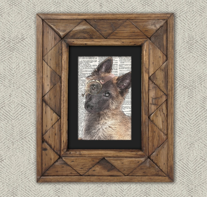 Great Gift for Dog Lovers! Steampunk Dog Dictionary Print: Diligent Belgian Shepherd in Monocle Dog Art Print