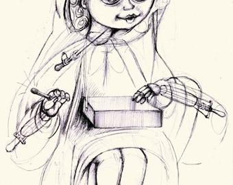 Bunraku Puppet. The Little Match Girl made in Bunraku Japan Theater Style by Hans Christian Andersen