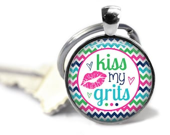 Southern girl key chain - Kiss my grits - Sweet tea - Sweet southern girl - Southern tea - Cry with a southern accent - Funny sayings
