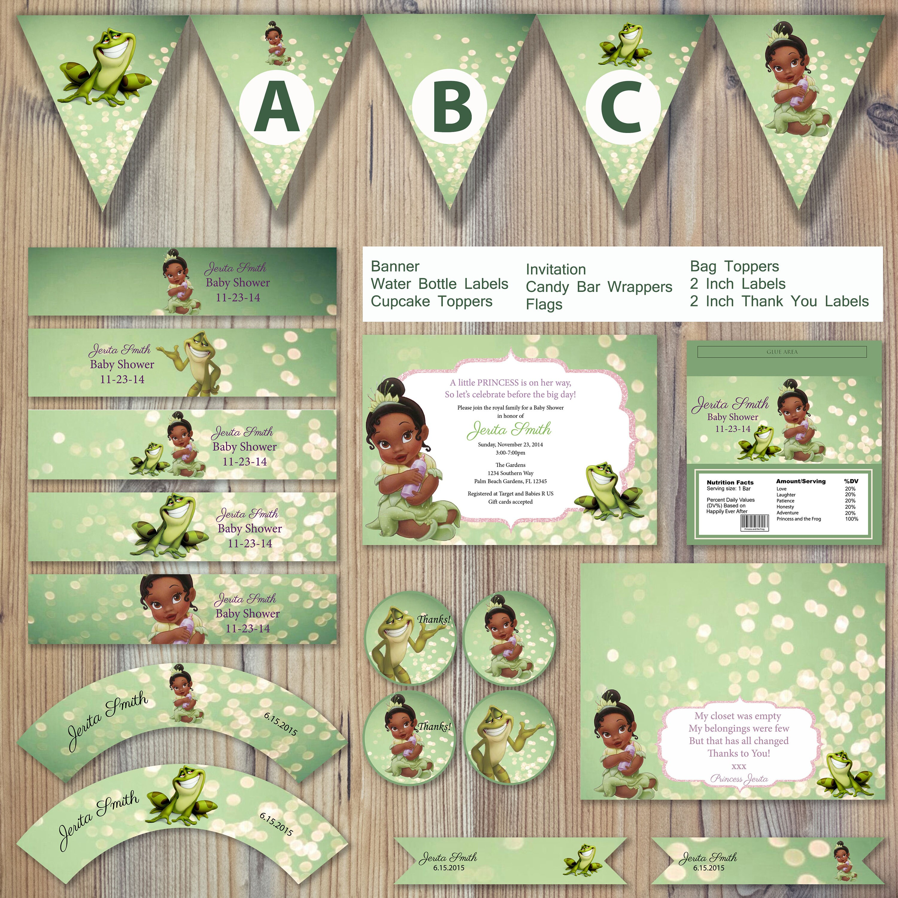 Instant Download Princess and the Frog Baby Tiana Shower